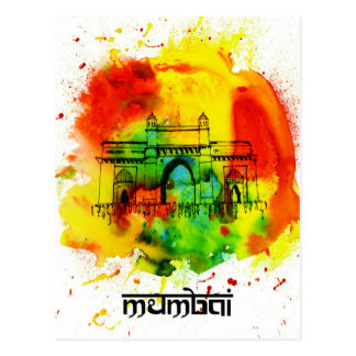 mumbai gateway of india bright watercolors postcard