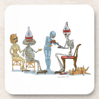 Mummific Skeleton Dinner Beverage Coasters