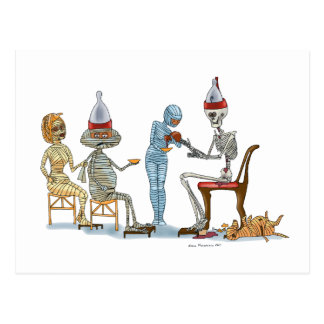 Mummific Skeleton Dinner Postcard
