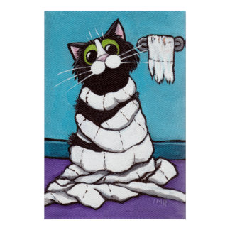 Mummified - Whimsical Cat Print