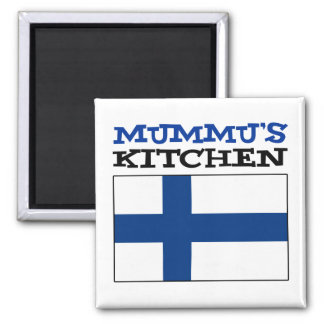 Mummu's Kitchen With Flag Of Finland Magnet