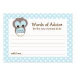 Mummy Advice Card Owl Baby Shower   Blue