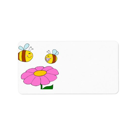 mummy and baby bee flying over flower cartoon address label