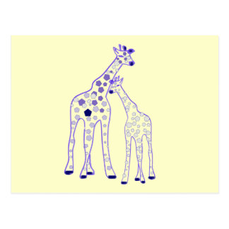 mummy and baby giraffe postcard