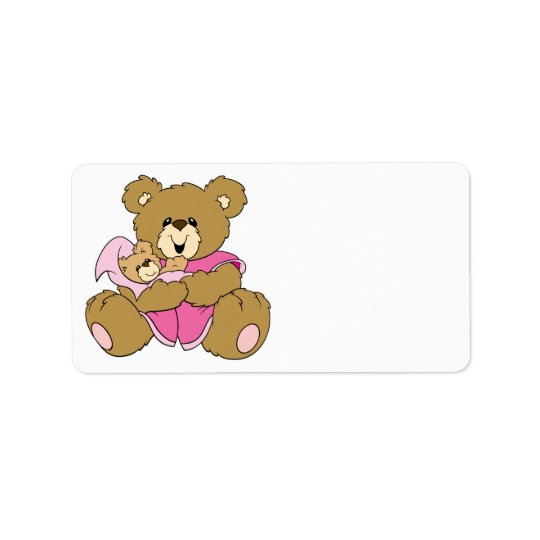 Mummy and Baby Girl Bear Address Label