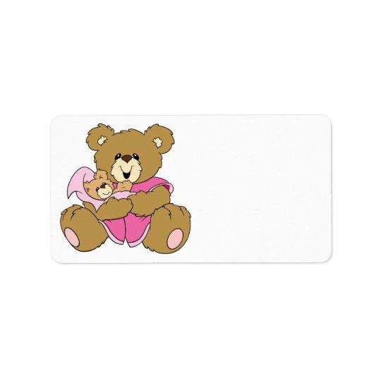 Mummy and Baby Girl Bear Address Label