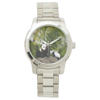 Mummy And Baby Panda, Large Unisex Watch