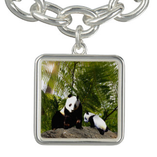 Mummy And Baby Panda, Square Charm Bracelet