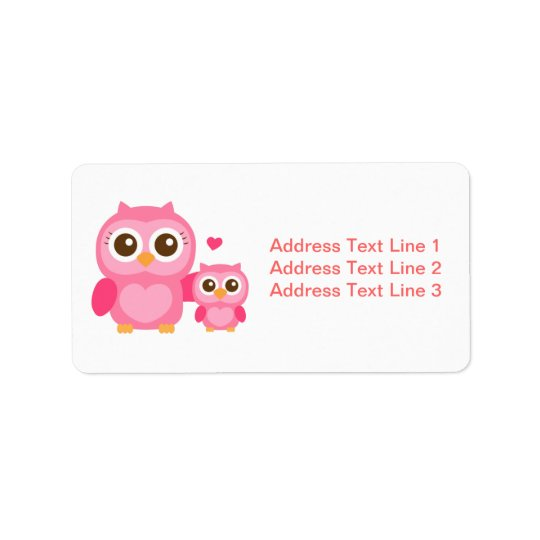 Mummy and Me, Cute Baby Owl, Pink Address Label