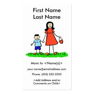 Mummy and Son Custom Photo Calling Playdate Cards Pack Of Standard Business Cards