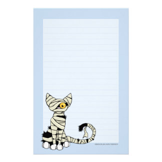 Mummy Cat | Halloween Note Paper Lined Stationery Paper