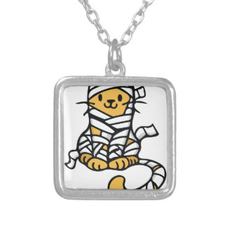 Mummy Cat Silver Plated Necklace