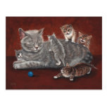Mummy Cat with Kittens Postcard