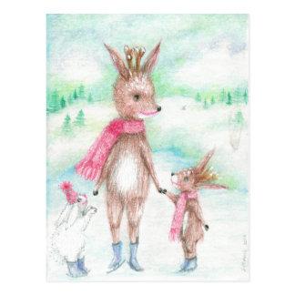 Mummy deer with Bambi baby and Bunny huggles Postcard