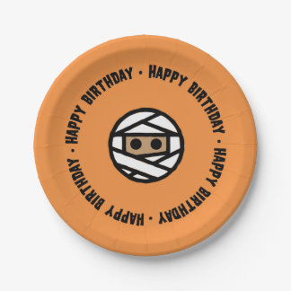 Mummy Halloween Birthday Paper plates