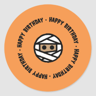 Mummy Halloween Birthday Stickers
