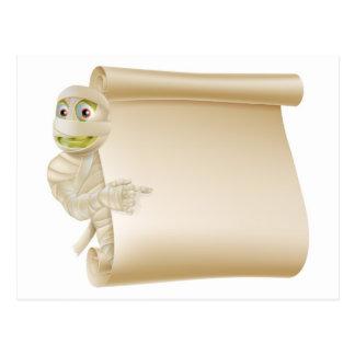 Mummy Halloween Monster Scroll Sign Postcard
