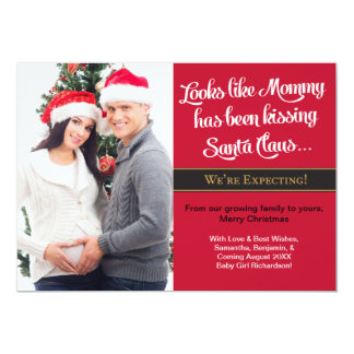 Mummy Kissing Christmas Pregnancy Announcement
