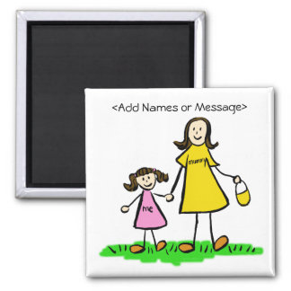 Mummy & Me - Mother and Daughter Brunette Magnets