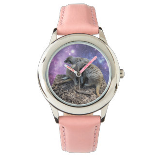Mummy Meerkat And Her Pup, Pink Leather Watch. Watch
