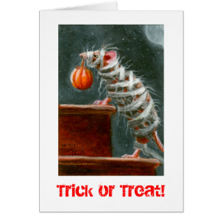 Mummy Mouse, Trick or Treat! Halloween card
