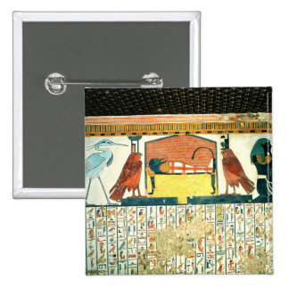 Mummy on a funeral bed with various divinities pinback buttons