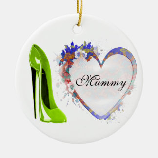 Mummy Ornament with Floral Heart and Lime Green St