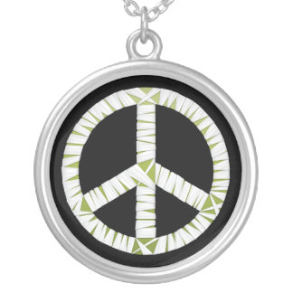 Mummy Peace Sign Round Necklace