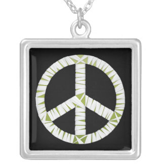 Mummy Peace Sign Square Necklace