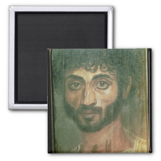 Mummy Portrait of a Man, from Fayum, Romano-Egypti Square Magnet