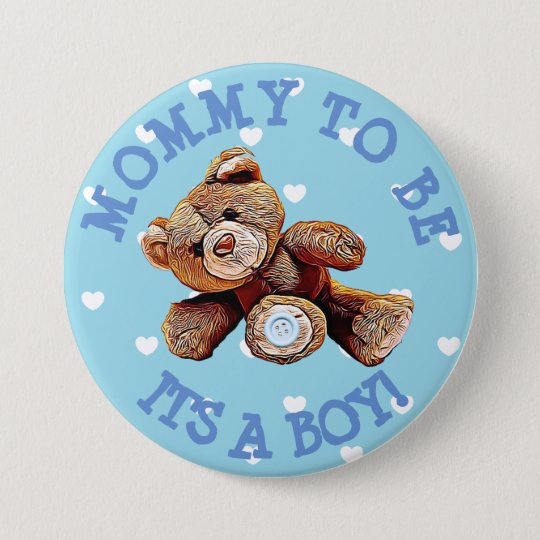 Mummy to be blue Bear hearts Baby Shower Button