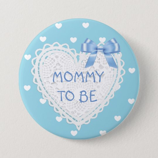 Mummy to be blue hearts Baby Shower Button
