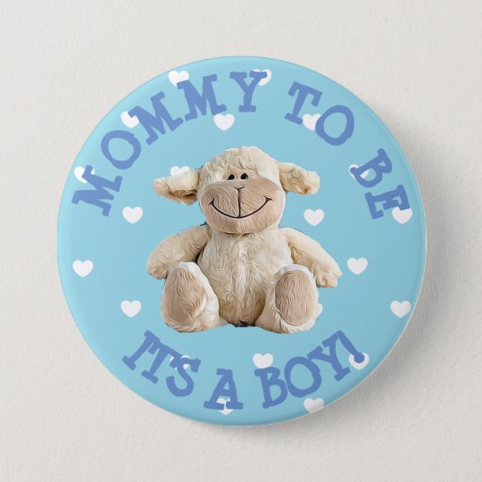 Mummy to be blue Lamb hearts Baby Shower Button