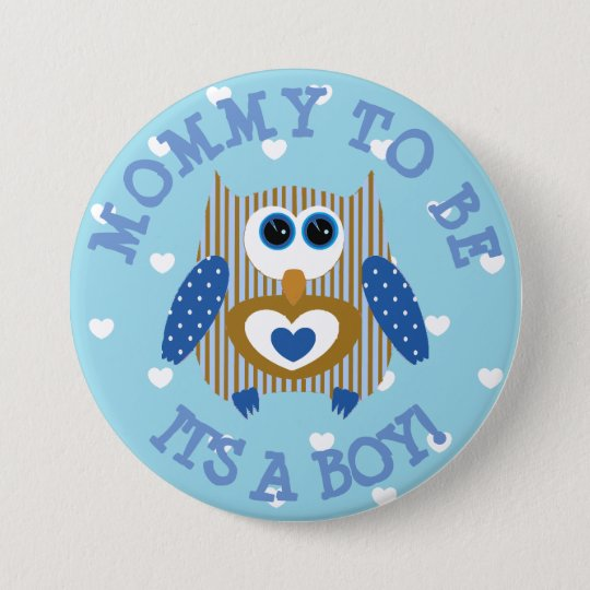 Mummy to be blue Owl hearts Baby Shower Button