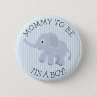 Mummy to be Elephant Blue Striped Baby Shower Pin
