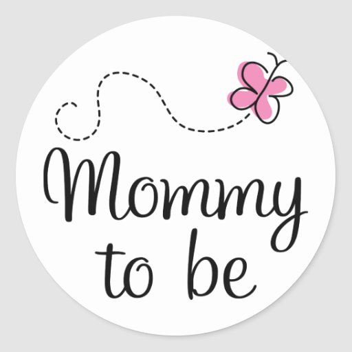 mummy to be pink butterfly gift round sticker zazzle. Black Bedroom Furniture Sets. Home Design Ideas