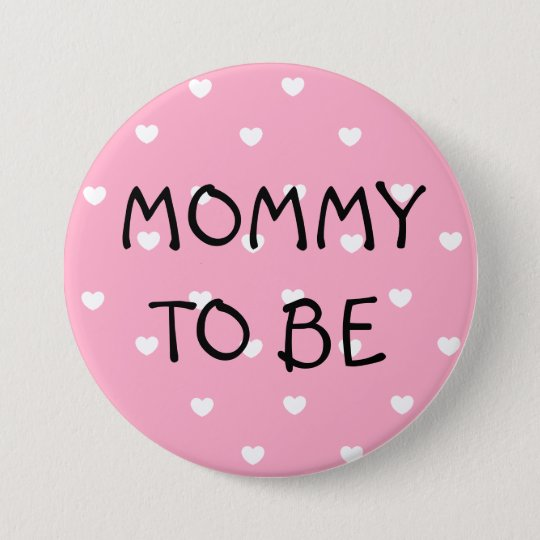 Mummy to be pink hearts Baby Shower Button