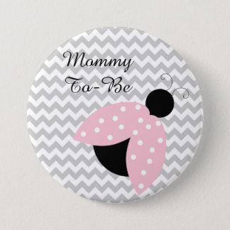 """""""Mummy To Be"""" Pink Ladybug Baby Shower Button"""