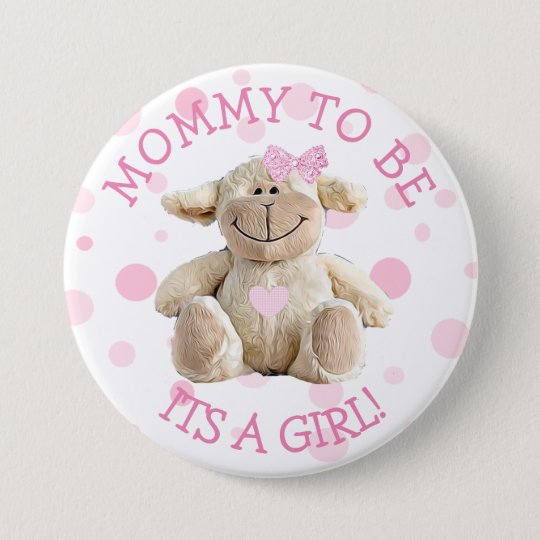 Mummy to be pink Lamb  Baby Shower Button