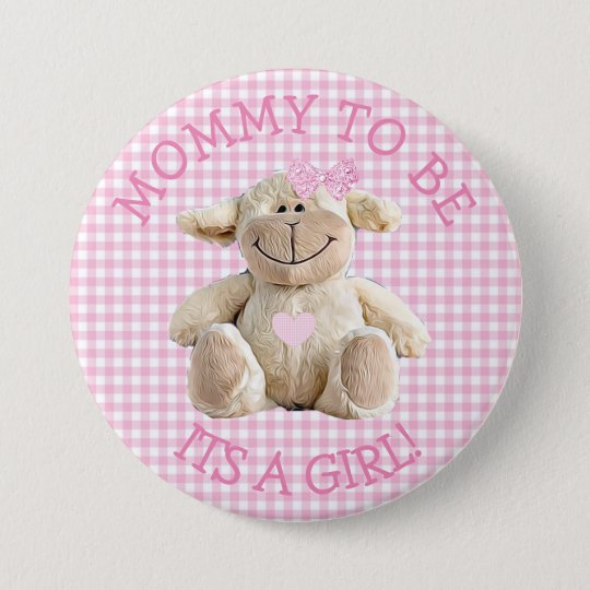Mummy to be pink Lamb hearts Baby Shower Button
