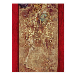Mummy with gold crown and grave goods postcard