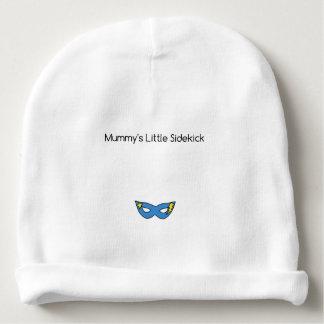 Mummy's Little Sidekick superhero mask blue Baby Beanie
