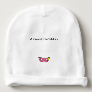 Mummy's Little Sidekick superhero mask pink Baby Beanie