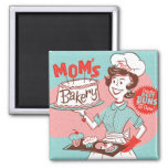 Mum's Bakery Vintage-Style Square Magnet (Green)