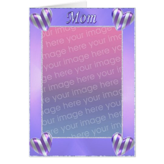 Mum's Day Striped Hearts (photo frame) Card