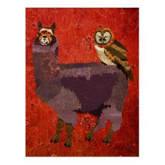 Mums Owl & Alpaca Crimson Ornate Postcard
