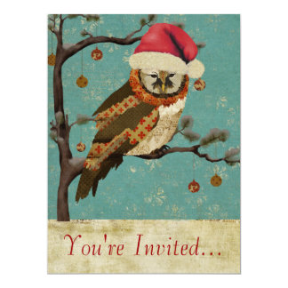 "Mums Owl Blue Holiday Invitation 6.5"" X 8.75"" Invitation Card"