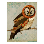 Mums Owl Blue Postcard