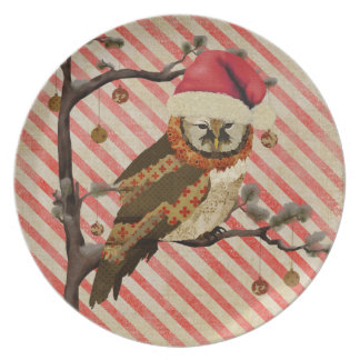 Mums Owl Candy Cane Plate