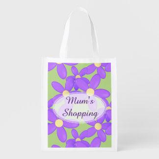 Mum's Purple Flower shopping bag